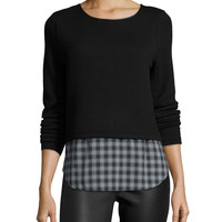 Coco Long-Sleeve Top W/Plaid Hem, Black, Size: