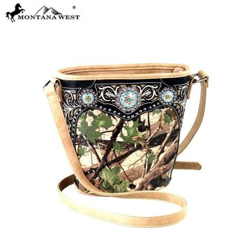 Montana West Camo Crossbody Purse Bucket Shaped Handbag