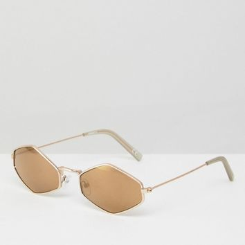 ASOS Hexagonal Sunglasses In Brown at asos.com