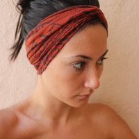 Tribal aztec turban twist headband Brown and orange by ThreeHeartZ