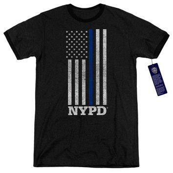 NYPD Ringer T-Shirt Thin Blue Line American Flag Black Tee