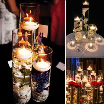 12PCS/Pack Unscented Floating Candles Submersible LED Tea Light for Wedding Party Home Decorations Centerpiece Kit