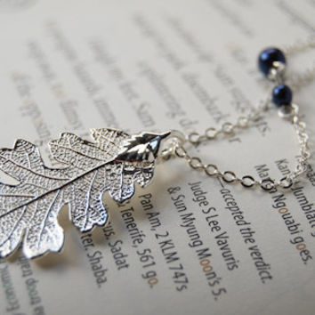 Small Fallen Real Silver Oak Leaf Necklace