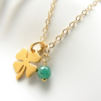 Gold shamrock clover charm necklace good luck green emerald Irish St. Patrick's Day pendant Ireland