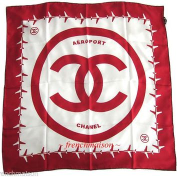 AUTHENTIC CHANEL Airport CC Logo Red White Silk SCARF Runway New 2016 $795