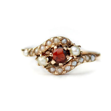 10k Rose Gold Bohemian Garnet Seed Pearl Antique Ring