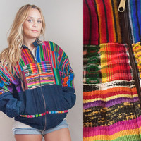 80s Colorful Southwestern Mexican Serape Jacket - Mens Medium or Womens Large XL | Womens Bright Ethnic Indian Textile Hippie Bomber Jacket