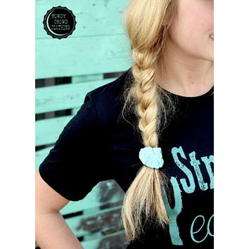 Turquoise Slab Ponytail Holder