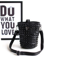 Korean Stylish Leather Mosaic Rivet Punk Bags [4915806404]