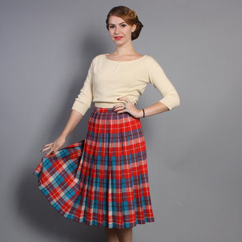 50s Reversible PLAID SKIRT / PLEATED Red, Aqua & White Wool, s