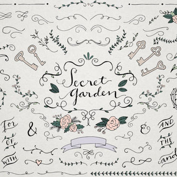 Secret Garden Wedding Clipart - Vintage wedding, ornaments and curls, wedding typography, skeleton keys, hand drawn clip art, illustrated