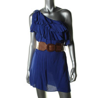 Coco Love Womens Ruffled One Shoulder Casual Dress