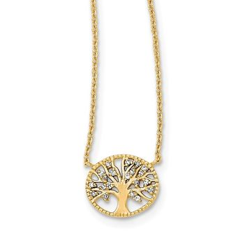 925 Sterling Silver Polished Gold-plated Tree with Cubic Zirconia Necklace, Bracelet