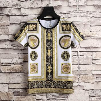 Versace Women or Men Fashion Casual Pattern Print Shirt Top Tee-2
