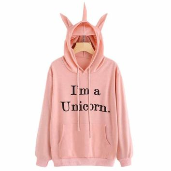 Winter Womens Causal Sweatshirts Unicorn Print Long Sleeve Hoodie Sweatshirt Jumper Hooded Pullover Tops sudaderas mujer EY11