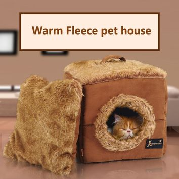 Soft warm luxury cat dog pet cave bed house for chihuahua small dog cat pet sleeping bag kennel nest dog tent bed mat cushion