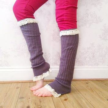 Grey Leg Warmers, Crochet Lace Leg Warmers, Lace Workout Leg Warmers, Leg Warmers, Winter Wear, Fashion Accessory, Fashion Workout Wear,