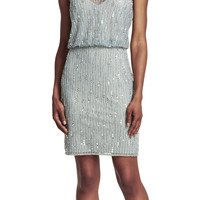 Beaded Mesh Blouson Dress - Adrianna Papell