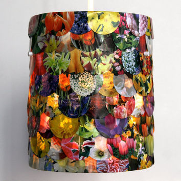 Small Floral Drum Shade Hanging Pendant Lamp by Zipper8Lighting