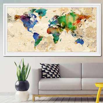 World map, World map print, Large world map, Watercolor map, Travel map, World map poster, Guest book map, wall art, home decor (L14)