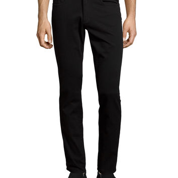 Essential Five-Pocket Stretch-Twill Pants, Black, Size: