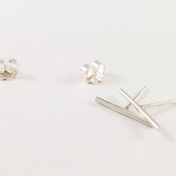 Bar Studs, Sterling Silver, Oxidized Black, 10mm, Line Studs, Staple Earring