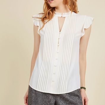 Zeal Studies Button-Up Top in White | Mod Retro Vintage Short Sleeve Shirts | ModCloth.com