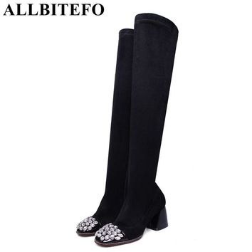 ALLBITEFO square toe genuine leather +flock Elastic cashmere thick heel women boots fashion Rhinestone spring autumn girl boots