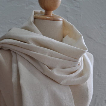 100% organic hand spun hand woven cotton shawl / scarf in plain cream color