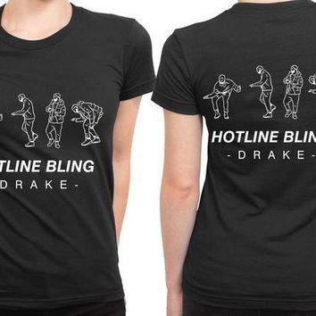 ESBP7V Drake Hotline Bling Fan Art 2 Sided Womens T Shirt