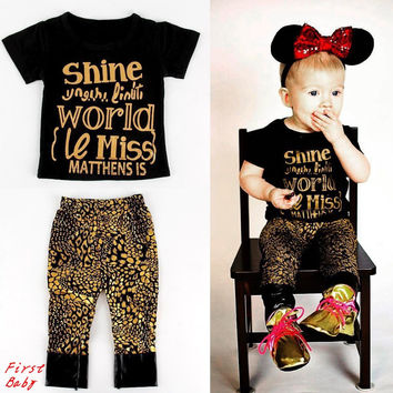 2017 Baby girls boys golden letters shine cotton t shirt leopard grain pant set summer childrens casual clothes kids wear 17F222