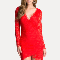bebe Womens Lace Surplice Dress