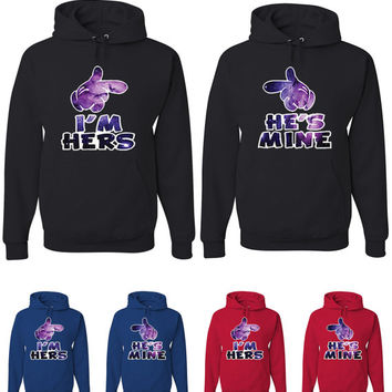 Couple Matching Galaxy Hands I'm Hers He's Mine Hoodies Cartoon Sweatshirts 63 64