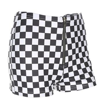 High Waisted Checkerboard Shorts | Attitude Clothing