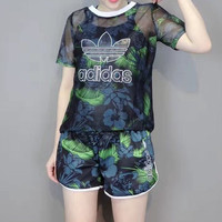 """Adidas"" Women Fashion Casual Leaf Flower Print Gauze Short Sleeve Set Two-Piece Sportswear"