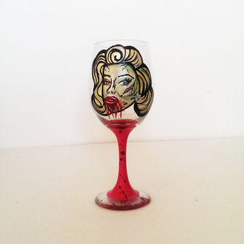 Zombie Marilyn Monroe wine glass - very detailed - rhinestones - 20 oz