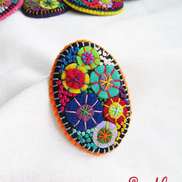 Color Textile Firework Brooch | Felt Brooch | Textile Art Jewelry | Idea for Gift | Creative Original Unusual Pin | Hot Orange Color Base