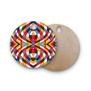 "Danny Ivan ""Stained Glass"" Round Wooden Cutting Board"