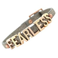 BCBGeneration Bracelet, Rose Gold-Tone Platinum Glitter PVC Fearless Mini Affirmation Bracelet - Fashion Jewelry - Jewelry & Watches - Macy's