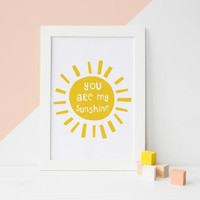 You Are My Sunshine wall art, Nursery Print, Mothers Day, Sunshine Art, Yellow Nursery Decor