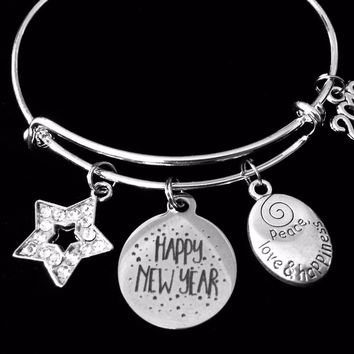 Happy New Year Expandable Charm Bracelet Peace Love Happiness Adjustable Silver Bangle One Size Fits All Gift 2019 Crystal Star