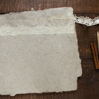 Lace paper, beautiful handmade paper, homemade paper, decorative paper, deckle edge, card making, diy wedding, rustic, single sheet (#20l)