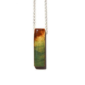 Green ombre stick statement necklace. Bar necklace.  statement jewelry . Wood necklace. Starlight woods. Eco friendly jewelry.