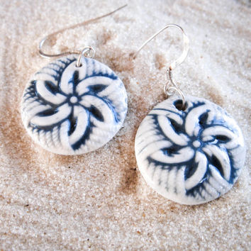 Porcelain Pinwheel Earrings, Blue & White - Ceramic Drop Earrings
