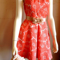Gorgeous party dress, formal dress, bridesmaid dress, floral dress, feminine dress, Coral dress, celebrity dress