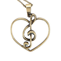 Cut-Out Treble Clef Heart Necklace