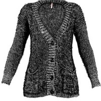 SWEEWË WENIE Metallic Black Cardigan - CLOTHING | JACKETS/CARDIGANS | PRET-A-BEAUTE.COM