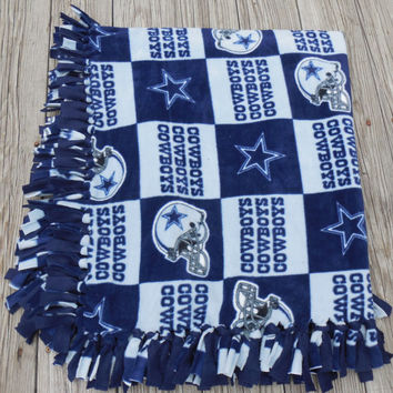 Cowboys, Fleece Lap Throw, Fleece Blanket, Sofa Throw, Hand Tied Fringe, Quilts and Blankets