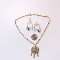 Choker - Acqua and Lapis Pendant - Gold Plated Chain - Matching Hoop Earrings