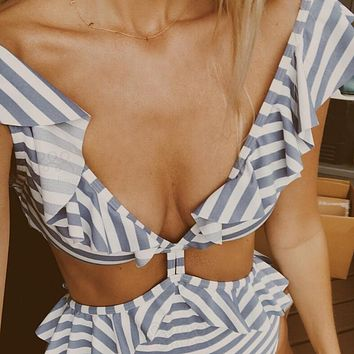 Trending Women Stylish Blue White Horizontal Stripes Falbala High Waist Two Piece Bikini Swimsuit Bathing I12748-1